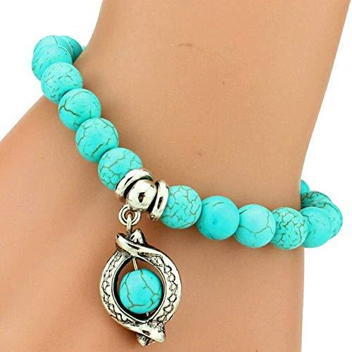 Tanakorn Vintage Turquoises Bracelets for Women Men Cross Tree Snake Owl Hand Pendant Charm Bracelet Bangle Fashion Jewelry