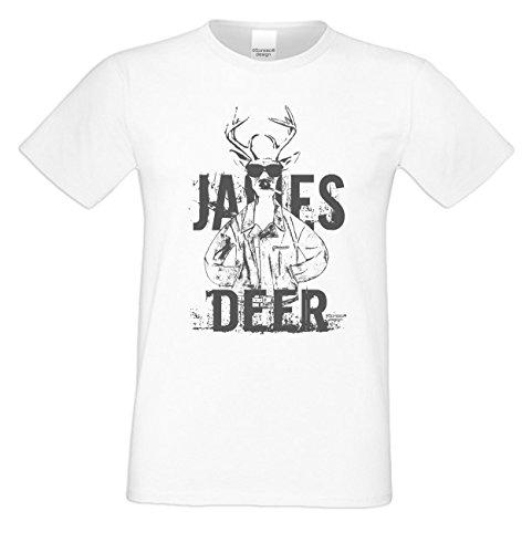 Wiesn T-Shirt - Cooler Hirsch James Deer grau Shirt Farbe weiß - Funshirt für's Oktoberfest statt Lederhose und Dirndl