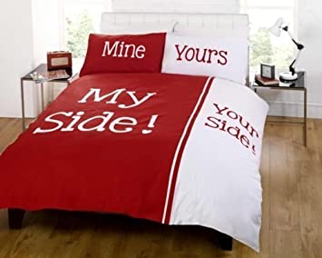 Bettwäsche Side His Side my side your side king size duvet cover and two pillowcases bed set