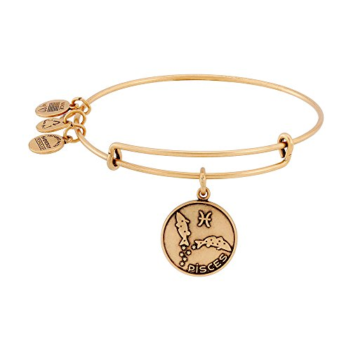Alex and Ani Pisces II Expandable Rafaelian Gold-Tone Wire Bangle Bracelet, 7.25""