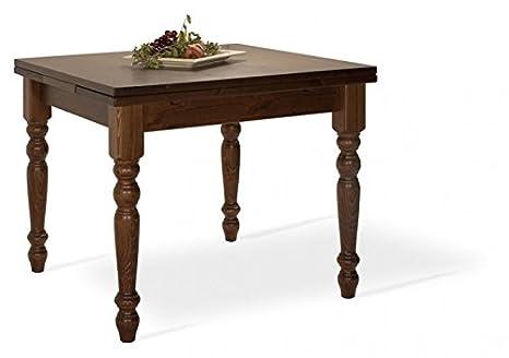 Arredamenti Rustici Tavolo allungabile in legno di pino 80x80-Colore Miele