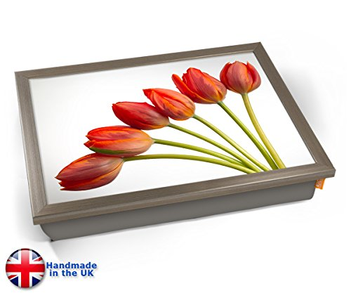 KICO Red Tulips Flowers Cushion Lap Tray - Chrome Effect Frame
