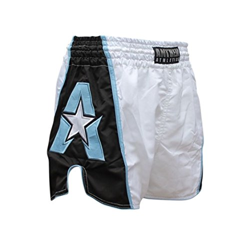 Anthem Athletics Infinity Muay Thai Shorts - 20+ Styles - Kickboxing, Thai Boxing - White, Black & Light Blue - XX-Large
