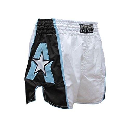 INITY Muay Thai Shorts - 20+ Styles - Kickboxing, Thai Boxing - White, Black & Light Blue - X-Large ()