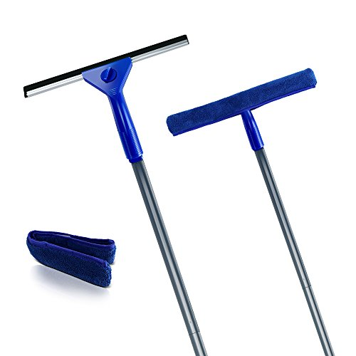 Squeegee and Microfiber Window Washer Squeegee Sets with Adjustable Handles Perfect for Window&Car Cleaning ()