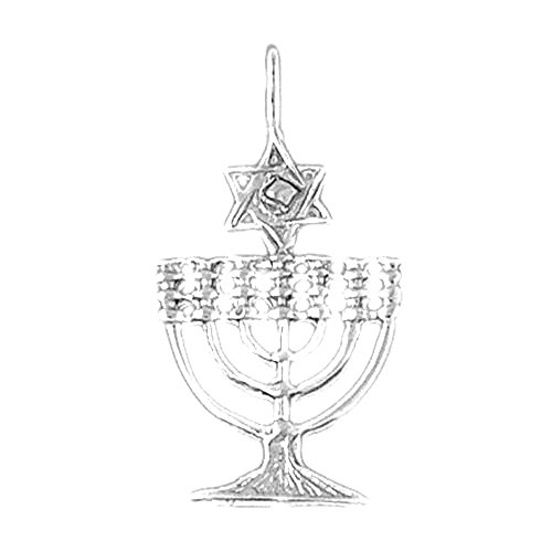 Jewels Obsession Menorah with Star of David Charm Pendant | 14K White Gold Menorah with Star of David Pendant - 30 mm