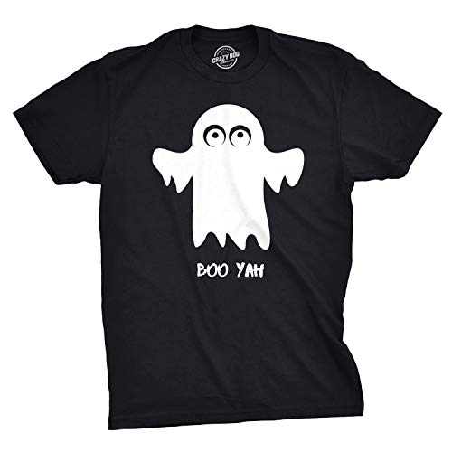 Crazy Dog T-Shirts Mens Boo Yah Funny Spooky Cute Halloween October Fall Ghost T Shirt (Black) M