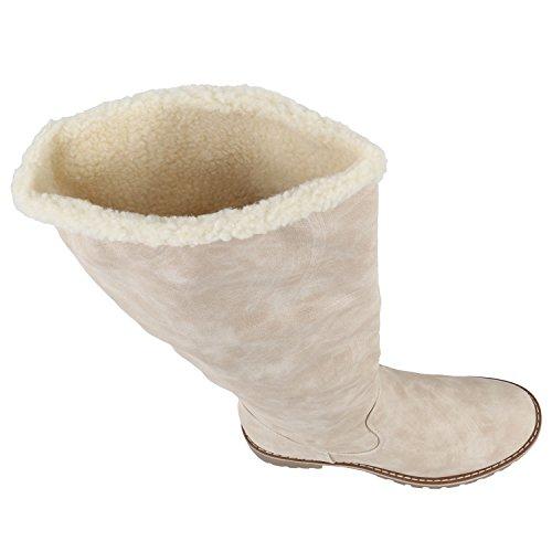 Stiefelparadies Warm Gefütterte Stiefel Damen Winterstiefel Wildleder-Optik Boots Schnallen Profilsohle Winter Schuhe Flandell Creme Autol