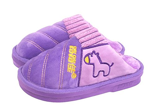 Blubi Womens Plush Lined Cute Horse Furry Slippers House Slippers for Women Purple 8RjWwBQ