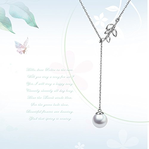 Y Lariat Necklace Sterling Silver Olive Leaf Pearl Drop Pendant Necklace for Women Lady(Y Necklace) by POPLYKE (Image #5)
