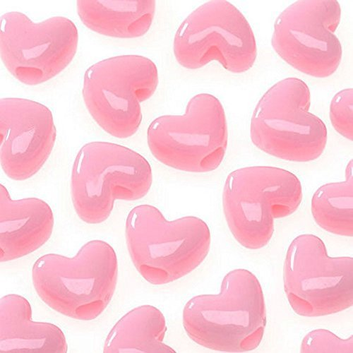 (Opaque Pink Heart Pony Beads - Acrylic - 11mm (65 pieces))