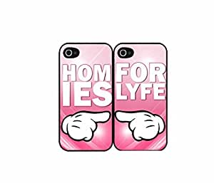 Homies For Lyfe bff Set of 2 Best Friend Plastic Phone Case Back Covers iPhone 5 5s includes diy case Cloth and Warranty Label