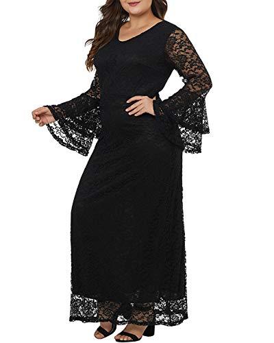 Vestido color Fiesta Largo Size Black Jiuyizhe O De Xxl Maxi Encaje Manga Larga Black Cuello Con Elegante F1x5dUq7wx