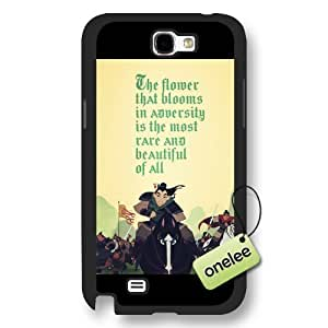 Disney Cartoon Mulan Frosted Phone Case & Cover for Samsung Galaxy Note 2 - Black