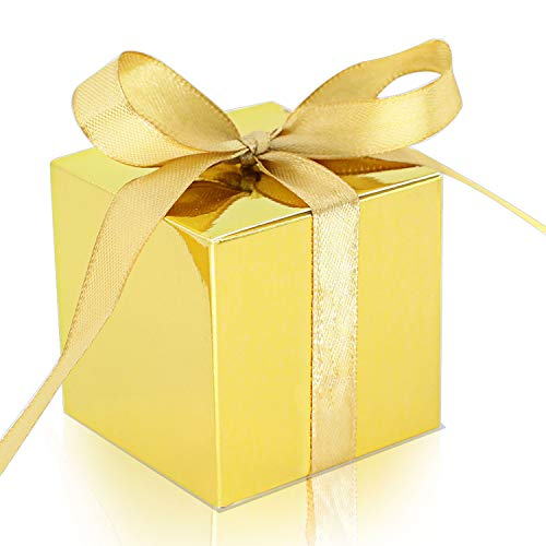 KPOSIYA 100 Pack Favor Boxes 2x2x2 inch Candy Boxes Gold Gift Boxes with Ribbons for Wedding Baby Shower Decorations Birthday Party Supplies (Gold, 100)]()