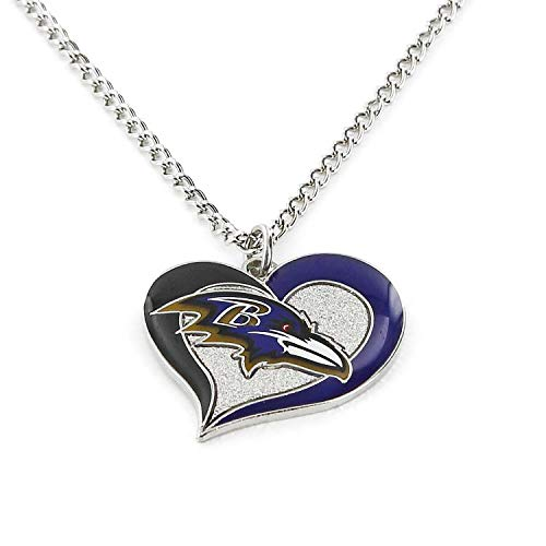 (aminco NFL Baltimore Ravens Swirl Heart Necklace)