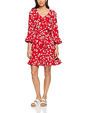 French Connection Women's Daisy Wrap Dress, Red/Multi, Eight