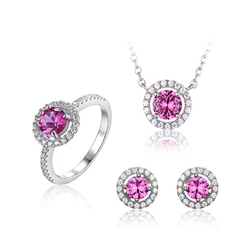 JewelryPalace Women's Round 3.8ct Created Pink Sapphire Jewelry Sets 925 Sterling Silver Stud Earrings Solitaire Pendant Necklace Ring Size 6