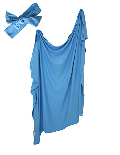 Organic Bamboo Swaddle - Best Large Knit Receiving Blanket and FREE Matching Bow