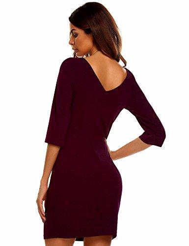 33b5f9283221 Meaneor Damen Elegantes Etuikleid Bleistiftkleid Business Kleid Mit  Viereck-Ausschnitt Knielang 3 4 Arm ...