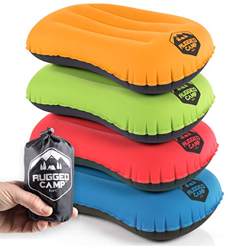 (Rugged Camp Camping Pillow - Inflatable Travel Pillows - Multiple Colors - Compressible, Lightweight, Ergonomic Head Neck Support Camping Plane Travel - Lumbar Back Support (Orange/Black))