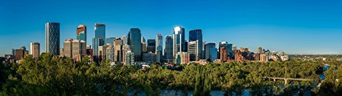 Posterazzi Skylines in a City Bow River Calgary Alberta Canada Poster Print by Panoramic Images, (20 x 6), Varies