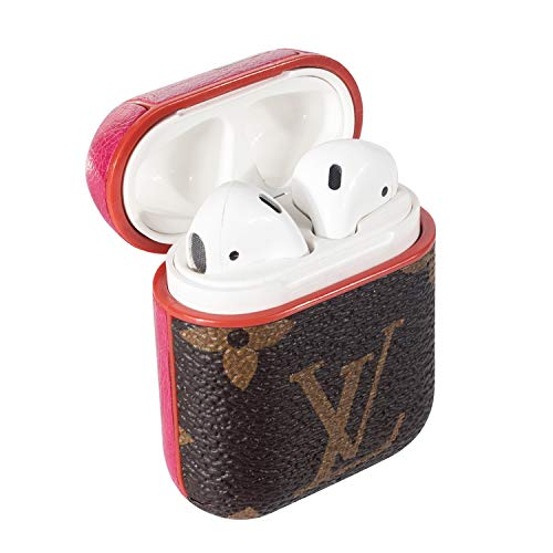 AirPods PU Leather Designer Case, Protective Shockproof Case Cover with Carabiner Keychain Compatible with Apple AirPods Charging Case for Men and Women (Monogram Brown)
