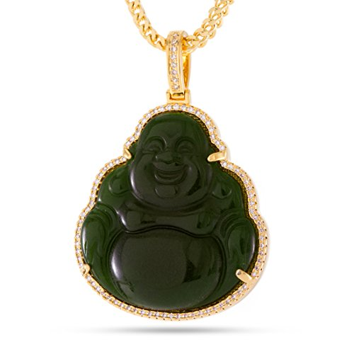 The 14K Gold Plated Buddha Necklace (Jade) by King Ice