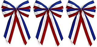 product image for Independence Bunting - 3-Pack! 4 Loop Large Red, White & Blue Patriotic Bows. American Made 4th of July Ribbon Bow are Good for Inside and Outdoors.
