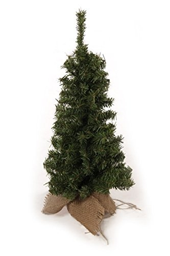(18 Inch Vienna Slim Pine Tree in Burlap Wrapped Base - Tabletop Christmas Pine Tree)