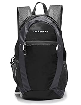 NeatPack Durable, Foldable Nylon Backpack Daypack with Security Zippers, 20L