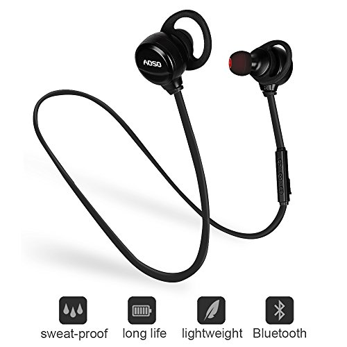 Bluetooth In Ear Headphones – Lightweight V4.1 Bluetooth Wireless Earphones, In-Ear Noise Cancelling Earbuds, Bluetooth Running Headphones for Smart Phones, Tablets and Laptops (Black)