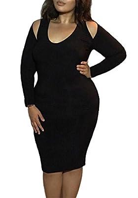 Romastory Women's Plus Size Strapless Long-sleeved Bodycon Stretch Club Dresses