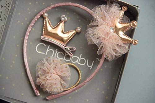 JP Kidz Presents – ChicBaby 3pc Hairband Gift Set for Girls and Babies | UK Company | Quality Gifts (Pink and Gold Crown…