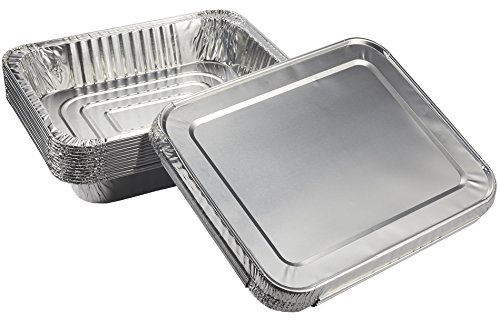 18-Pack Deep Foil Steam Pans with Lids Set - 6-Piece Full Size and 12-Piece Half-Size Aluminum Disposable Steam Table Pans, Take-Out Containers for Baking, Roasting, Broiling, Reheating, 20.5 x 13; (100 Ounce Silver Bars)