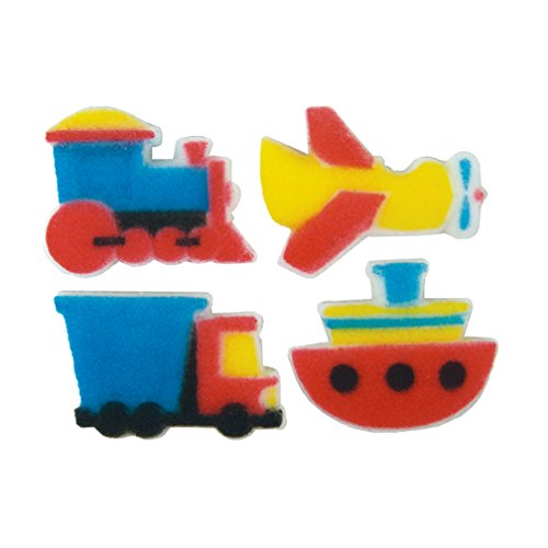 Price comparison product image Lucks Dec-Ons Molded Sugar / Cup-Cake Top,  Vehicles and Vessels Assortment,  1.125 Inch