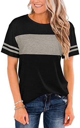 ETCYY NEW WOMENS TSHIRTS SHORT SLEEVE COLOR BLOCK WORKOUT TOP SHIRTS CASUAL TUNIC TOPS ATHLETIC T-SHIRT