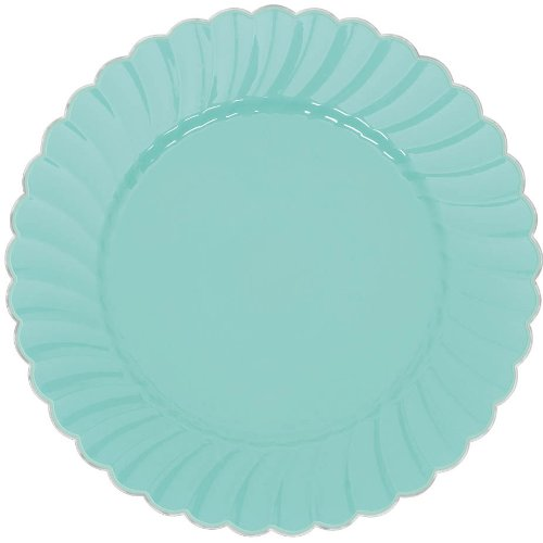 Scalloped Premium Plastic Plates with Metal Trim Spring Party Reusable Tableware (20 Pieces), Robin's Egg Blue, 7 1/4
