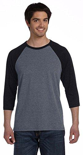 Bella + Canvas Unisex 3/4-Sleeve Baseball T-Shirt, Medium, DEEP HTHR/BLACK