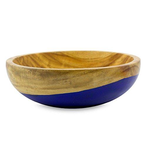NOVICA TWE0318 Spicy Blue' (Medium) Wood Bowl
