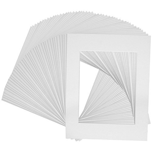 Mat Board Center, Pack of 25, 5x7 White Picture Mats with White Core for 4x6 Pictures