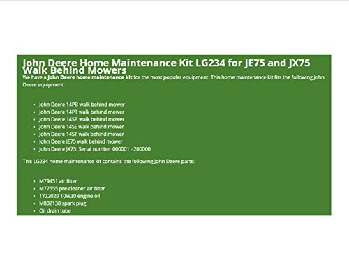 John Deere Maintenance Kit Walk-Behind Mowers JE75, JX75 14SB 14SE Filters Oil LG234