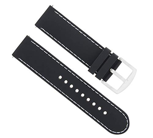 Ewatchparts 22MM Soft Rubber Diver Band Strap for Croton Black WS6P