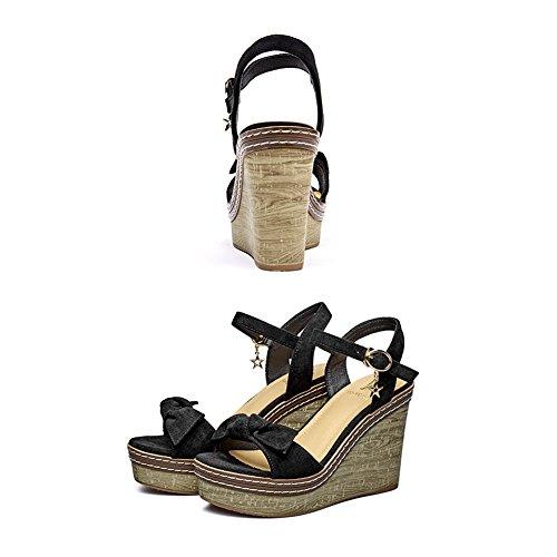 Zapatillas de moda Zapatos 2 colores fondo verano Tamaño Negro Color Altura Zapato coffee Plataforma 10 del Dark mujer LIXIONG talón UK 1cm grueso acogedor EU36 impermeable Bowknot Cuñas Aumentar dRqT1