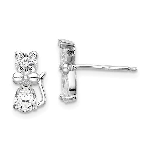 CZ Cat with Bow Tie Post Earrings Rhodium-Plated Sterling Silver