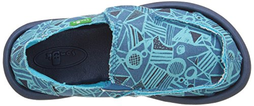 Sanuk Kids Boys Lil Donny Funk Slip On (Toddler/Little Kid/Big Kid) Blue Crazy Shapes