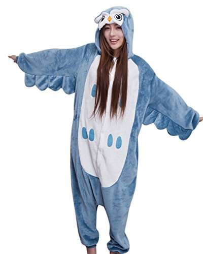 [FashionFits Unisex Animal One Piece Pyjamas Owl Jumpsuit Costume Lounge Wear M] (Animal Suits For Adults)