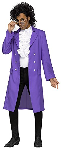 Purple Pain Costume Wig Set Jacket Jabot Glasses Wig Adult Men's One Size - 80's Artists Costumes