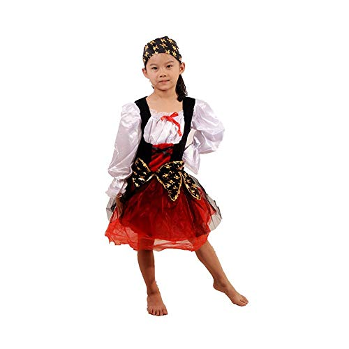 Zhao Li Costumes European and American Classic Style Children's Caribbean Women's Pirate Costume Cosplay Halloween Carnival Party Costume Dancing unifom (Color : A, Size : L) -