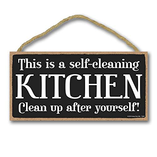 Honey Dew Gifts Kitchen Decor, This is a Self Cleaning Kitchen 5 inch by 10 inch Hanging Wall Art, Decorative Wood Sign Home ()